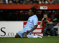 Photo: Rich Eaton.<br /> <br /> Bristol City v Manchester City. Carling Cup. 29/08/2007. Man City's Emile Mpenza scores the first goal of the game and celebrates