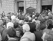 Removal of the Remains of Mr.George Colley..1983.19.09.1983.09.19.1983.19 September 1983..Image of the many mourners as they follow the coffin into the Church of Three Patrons, Rathgar,Dublin.