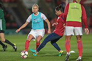 Steph Houghton (England) warming up before the International Friendly match between England Women and France Women at the Keepmoat Stadium, Doncaster, England on 21 October 2016. Photo by Mark P Doherty.