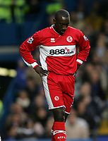 Photo: Lee Earle.<br /> Chelsea v Middlesbrough. The Barclays Premiership.<br /> 03/12/2005. Middlesbrough's Jimmy Floyd Hasselbaink looks dejected after losing to his former club.