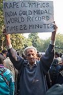 29th Dec. 2012. A man holds a sign above his head at a vigil held in Jantar Mantar, New Delhi. Earlier that day news broke of the death of a victim of gang-rape.