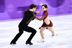 PYEONGCHANG, Feb. 12, 2018  Canada's Tessa Virtue (R) and Scott Moir compete during the ice dance free dance of figure skating team event at the 2018 PyeongChang Winter Olympic Games, in Gangneung Ice Arena, South Korea, on Feb. 12, 2018. Team Canada won the gold medal of figure skating team event with 73 points in total. (Credit Image: © Ju Huanzong/Xinhua via ZUMA Wire)