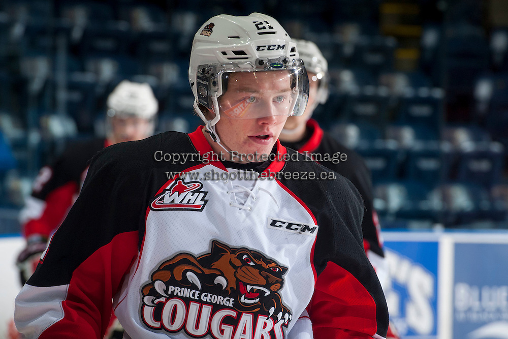 KELOWNA, CANADA - DECEMBER 5: Jared Bethune #21 of Prince George Cougars warms up against the Kelowna Rockets on December 5, 2014 at Prospera Place in Kelowna, British Columbia, Canada.  (Photo by Marissa Baecker/Shoot the Breeze)  *** Local Caption *** Jared Bethune;