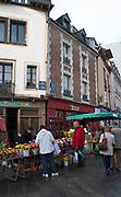 Rennes, FRANCE. General View GV. Rennes weekly regional market. Brittany,<br /> <br />  Stalls in the open and covered market  <br /> <br /> Saturday  26/04/2014 <br /> <br /> © Peter SPURRIER, <br /> <br /> NIKON CORPORATION  NIKON D700  f7.1  1/200sec  24mm  947K