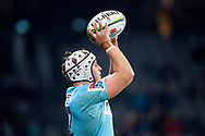 SYDNEY, AUSTRALIA - JUNE 08: Waratahs player Damien Fitzpatrick (2) gets ready to throw the ball in at week 17 of Super Rugby between NSW Waratahs and Brumbies on June 08, 2019 at Western Sydney Stadium in NSW, Australia. (Photo by Speed Media/Icon Sportswire)