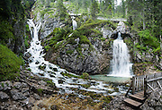 Vallesinella Falls is an exceptionally beautiful series of cascades along a short trail in the Brenta Dolomites, near the ski resort of Madonna di Campiglio in the Trentino-Alto Adige/Südtirol region of Italy, Europe. UNESCO honored the Dolomites as a natural World Heritage Site in 2009. This panorama was stitched from 4 overlapping photos.