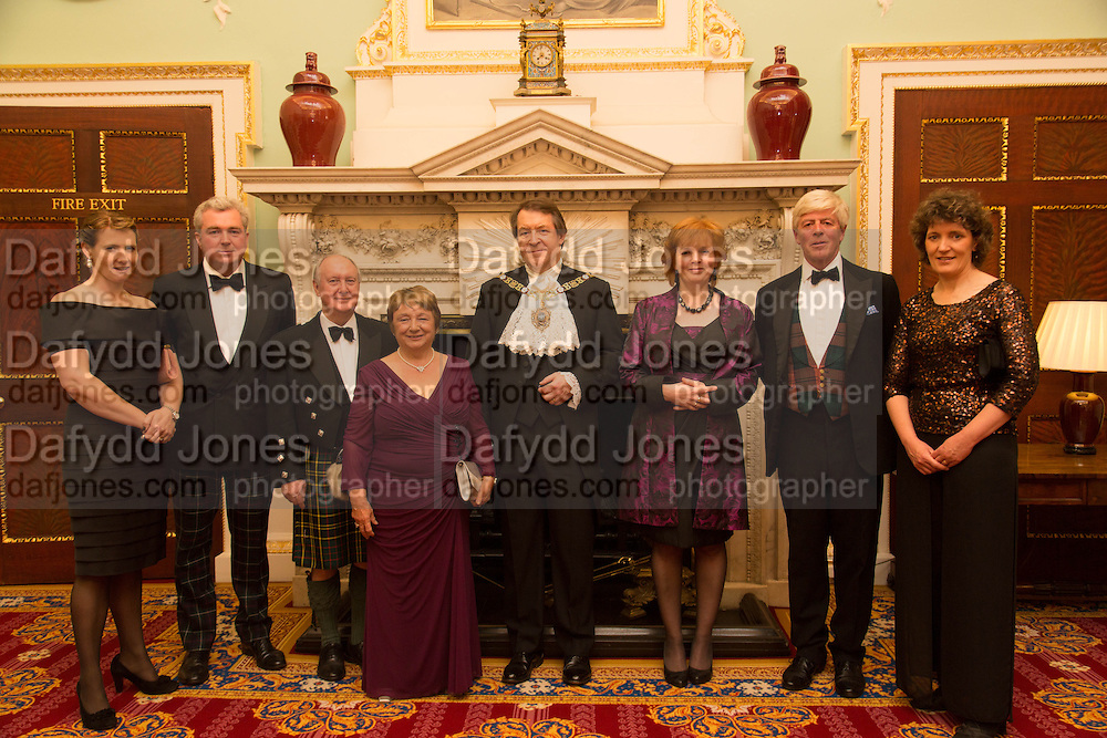 The hon Mrs. Drummond-Herdman; Giles Herdman; Sir Kenneth & Lady Calman; The Lord Mayor and the Lady Mayoress; the earl of Lindsay; Ms. Kate Mavor, The National Trust for Scotland Mansion House Dinner. Mansion House, London. 16 October 2013