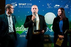 Pablo Perez, ITTF Para Table tennis manager, Damijan Lazar, president of ZSIS and ... during Award ceremony at Day 4 of 15th Slovenia Open - Thermana Lasko 2018 Table Tennis for the Disabled, on May 12, 2018, in Dvorana Tri Lilije, Lasko, Slovenia. Photo by Vid Ponikvar / Sportida