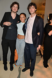 PRESTON THOMPSON,ADWOA ABOAH and TYRONE LEBON at a Dinner to celebrate the launch of the Mulberry Cara Delevingne Collection held at Claridge's, Brook Street, London on 16th February 2014.