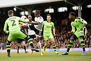 Fulham midfielder Neeskens Kebano (7) tries a creative flick to beat the defence during the EFL Sky Bet Championship match between Fulham and Wolverhampton Wanderers at Craven Cottage, London, England on 18 March 2017. Photo by Andy Walter.