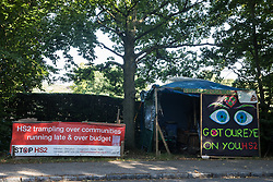 The Stop HS2 Great Missenden roadside camp is seen on 17th July 2020 in Great Missenden, United Kingdom. Environmental activists from groups including Stop HS2 and HS2 Rebellion continue to protest against HS2, which is currently projected to cost £106bn and which will remain a net contributor to CO2 emissions during its projected 120-year lifespan, on environmental and economic grounds.