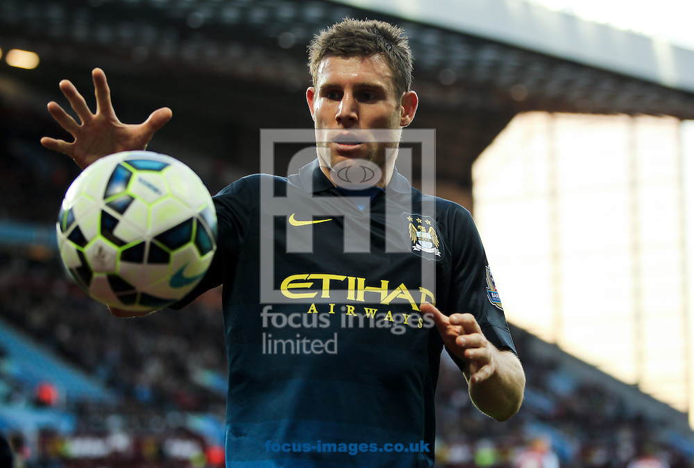 James Milner of Manchester City receives the ball during the Barclays Premier League match at Villa Park, Birmingham<br /> Picture by Tom Smith/Focus Images Ltd 07545141164<br /> 04/10/2014