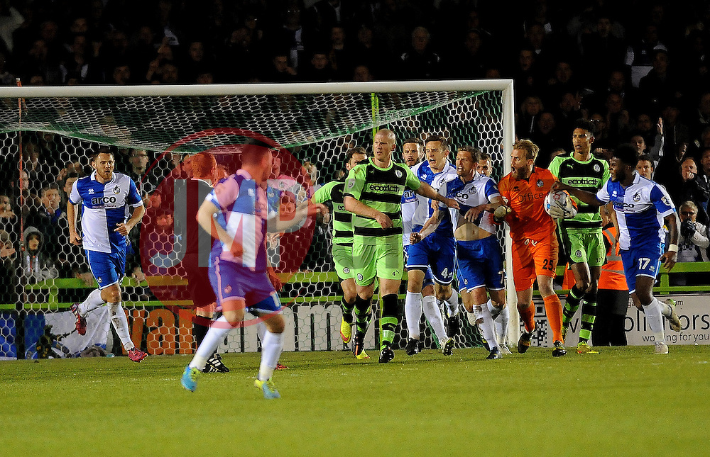 Handbags !! - Photo mandatory by-line: Neil Brookman/JMP - Mobile: 07966 386802 - 29/04/2015 - SPORT - Football - Nailsworth - The New Lawn - Forest Green Rovers v Bristol Rovers - Vanarama Football Conference