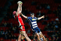 Ulster A Lock Pete Browne and Bristol Rugby replacement Mark Sorenson compete - Mandatory byline: Rogan Thomson/JMP - 22/01/2016 - RUGBY UNION - Ashton Gate Stadium - Bristol, England - Bristol Rugby v Ulster A - British & Irish Cup.