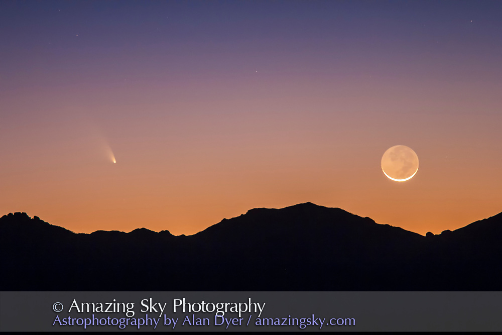 Comet PANSTARRS C/2011 L4 and the thin waxing Moon, March 12, 2013, over the Chiricahua Mountains, in Arizona, but seen from New Mexico, from a site on Highway 80 north of the Painted Pony Resort. A 2s exposure at f/2.8 and ISO 640 with the Canon 60Da and 135mm telephoto + 1.4x Extender.