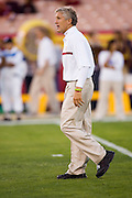 University of Southern California Trojan Head Coach Pete Carroll walks the field before a 70 to 17 win over the Arkansas Razorbacks on September 17, 2005 at Los Angeles Memorial Coliseum in Los Angeles, California. .Mandatory Credit: Wesley Hitt/Icon SMI