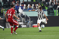 September 27, 2017 - Turin, Italy - Juventus forward Paulo Dybala (10) shoots the ball during the Uefa Champions League group stage football match n.2 JUVENTUS - OLYMPIACOS on 27/09/2017 at the Allianz Stadium in Turin, Italy. (Credit Image: © Matteo Bottanelli/NurPhoto via ZUMA Press)