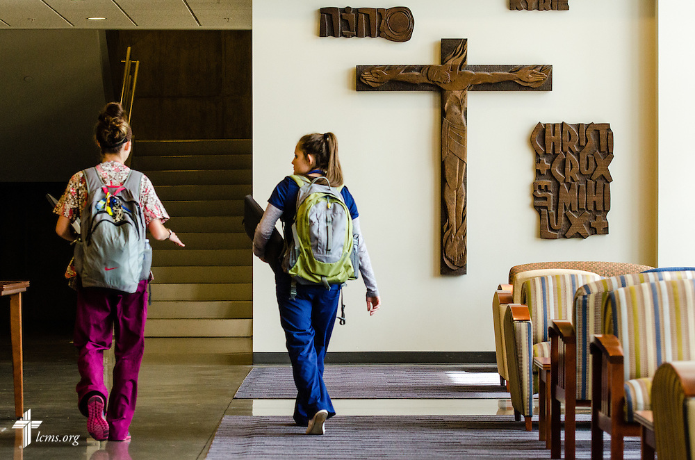 Nursing students walk to class in the George R. White Library and Learning Cente at Concordia University on Friday, July 11, 2014,  in Portland, Ore. LCMS Communications/Erik M. Lunsford