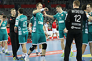 Belarus players celebrate during the EHF 2018 Men's European Championship, 2nd Round, Handball match between Serbia and Belarus on January 24, 2018 at the Arena in Zagreb, Croatia - Photo Laurent Lairys / ProSportsImages / DPPI