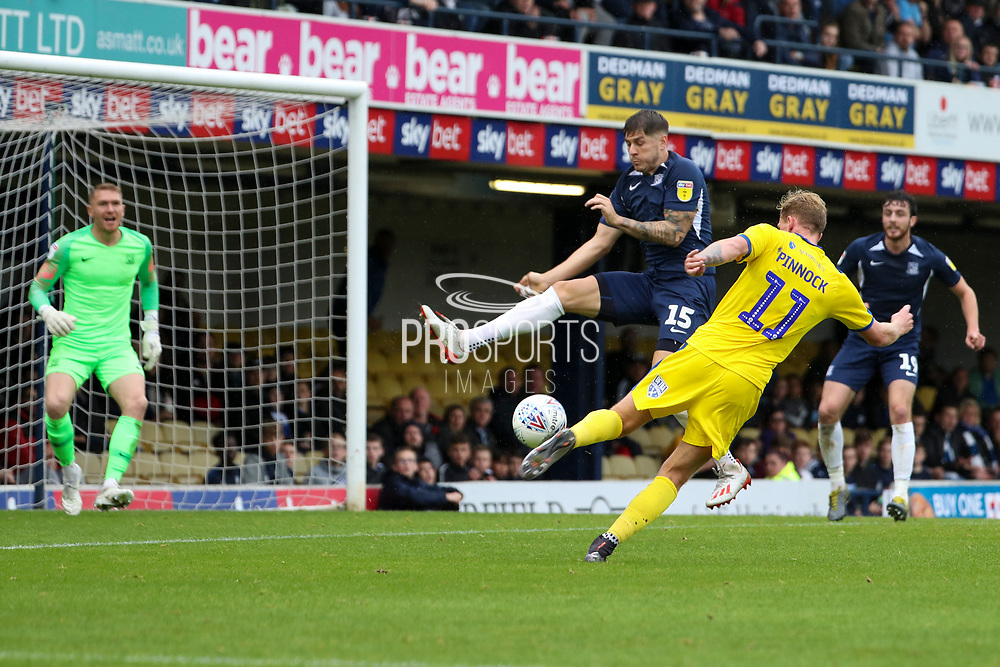 AFC Wimbledon midfielder Mitchell (Mitch) Pinnock (11) about to volley at goal during the EFL Sky Bet League 1 match between Southend United and AFC Wimbledon at Roots Hall, Southend, England on 12 October 2019.