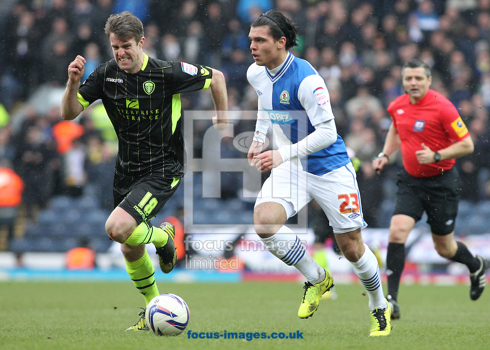 Picture by Michael Sedgwick/Focus Images Ltd +44 7900 363072.23/02/2013.Karim Rekik of Blackburn Rovers and Michael Tonge of Leeds United in action during the npower Championship match at Ewood Park, Blackburn.