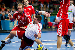 14.01.2011, Scandinavium, Göteborg, SWE, IHF Handball Weltmeisterschaft 2011, Herren, Polen vs Slovakei, im Bild, // Slovakien Slovakia 14 Andrej Petro falling // during the IHF 2011 World Men's Handball Championship match Poland vs Slovakia at Scandinavium in Gothenburg. EXPA Pictures © 2011, PhotoCredit: EXPA/ Skycam/ Per Friske +++++ ATTENTION - OUT OF SWEDEN/SWE +++++