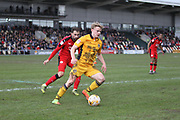 Alex Samuel of Newport County during the EFL Sky Bet League 2 match between Newport County and Crawley Town at Rodney Parade, Newport, Wales on 1 April 2017. Photo by Andrew Lewis.