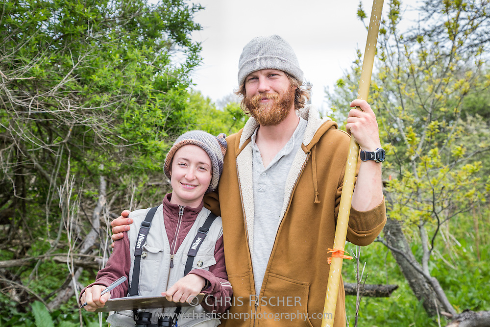 Biologists Emily Pollum and  John Gorey, while conducting the 2013 Wading Bird Survey on Stratton Island, Maine.