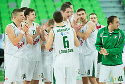 Players of Union Olimpija after the basketball match between KK Union Olimpija Ljubljana and BC Levski Sofia (BUL) in 12th Round of ABA League 2014/15, on December 13, 2014 in Arena Stozice, Ljubljana, Slovenia. Photo by Vid Ponikvar / Sportida