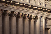 "The fluted columns with their Corinthian capitals of the Bank of England on Threadneedle Street in the heart of the Square Mile, the capital's historical and financial centre, on 1st November 2017, in the City of London, England. The Bank of England, is the central bank of the United Kingdom and the model on which most modern central banks have been based. Established in 1694, it is the second oldest central bank in the world. Sir Herbert Baker's rebuilding of the Bank, demolishing most of Sir John Soane's earlier building, was described by architectural historian Nikolaus Pevsner as ""the greatest architectural crime, in the City of London, of the twentieth century""."
