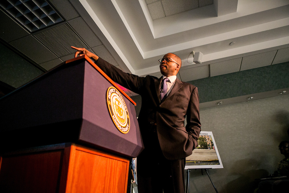 BROOKLYN, NY - JUNE 29, 2016: District Attorney Ken Thompson at a press conference about the shooting death of Carey Gabay held at the Brooklyn District Attorney's headquarters in Brooklyn, New York. CREDIT: Sam Hodgson for The New York Times.