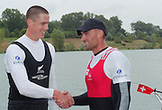 Vienna AUSTRIA. Gold Medalist;  right: SUI M1X Xeno MUELLER and left  Silver medalist NZL M1X. Rob WADDELL 2000 FISA World Cup. 2nd Round. Vienna Neue Donau Rowing Course  [Mandatory Credit. Peter Spurrier/Intersport Images]
