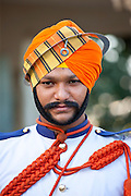 Military musician of 76th Maharana of Mewar, His Highness, Shriji Arvind Singh Mewar of Udaipur, at the City Palace, Rajasthan, India