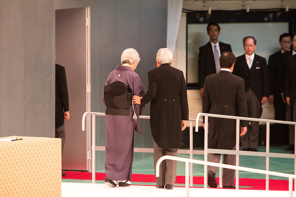 TOKYO, JAPAN - AUGUST 15 : Emperor Akihito escort Empress Michiko as they leave the venue during the memorial service at the Nippon Budokan on the 71st anniversary of the Japan's war surrender on August 15, 2016 in Tokyo, Japan.  (Photo by Richard Atrero de Guzman/NURPhoto)