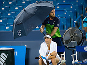 Ajla Tomljanovic of Australia during a rain delay in her second-round match at the 2018 Western and Southern Open WTA Premier 5 tennis tournament, Cincinnati, Ohio, USA, on August 15th 2018 - Photo Rob Prange / SpainProSportsImages / DPPI / ProSportsImages / DPPI