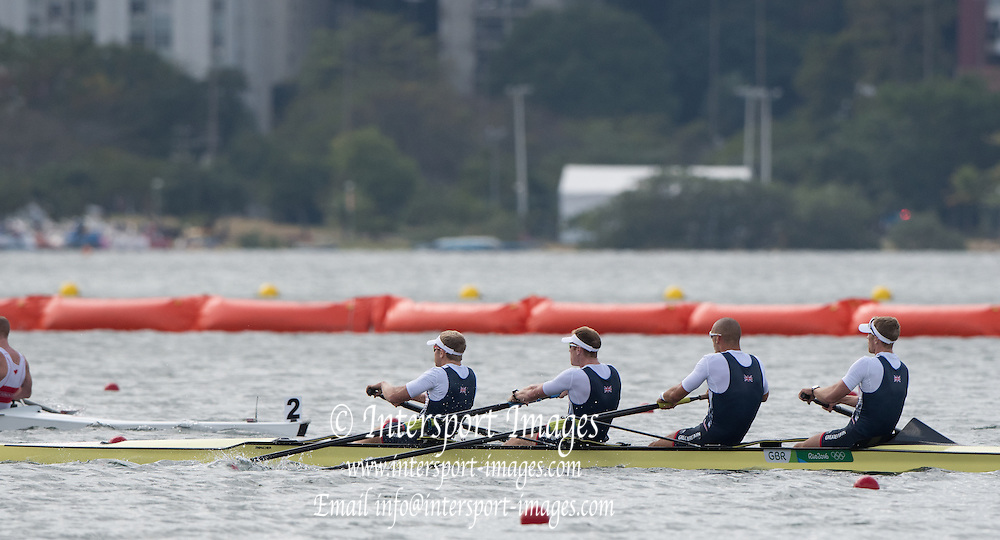 Rio de Janeiro. BRAZIL.  GBR M4-, Bow Alex GREGORY, Mohamed SBIHI, George NASH and Constantine LOULOUDIS. 2016 Olympic Rowing Regatta. Lagoa Stadium,<br /> Copacabana,  &ldquo;Olympic Summer Games&rdquo;<br /> Rodrigo de Freitas Lagoon, Lagoa. Local Time 09:45:55  Thursday  11/08/2016 <br /> [Mandatory Credit; Peter SPURRIER/Intersport Images]