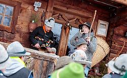 THEMENBILD - die Alperer mit dem Melcher Manuel beim Hausbesuch. In Krimml hat sich der Brauch des Alperns erhalten, den man anderswo kaum noch kennt. Am Wochenende um Martini ziehen Buben mit Kuhglocken von Haus zu Haus. Das laute Läuten soll böse Geister vertreiben. Die Alperer sind zwischen acht und 14 Jahren alt. Sie besuchen dabei rund 150 Haushalte, aufgenommen am 12. November 2016, Krimml, Österreich // In Krimml, the tradition of Alpern have been preserved, which are hardly known elsewhere. At the weekend around Martini, boys with cowbells move from house to house. The loud ringing is to drive out evil spirits. The Alperers are between eight and 14 years old. They visit about 150 households, Krimml, Austria on 2016/11/12. EXPA Pictures © 2016, PhotoCredit: EXPA/ JFK