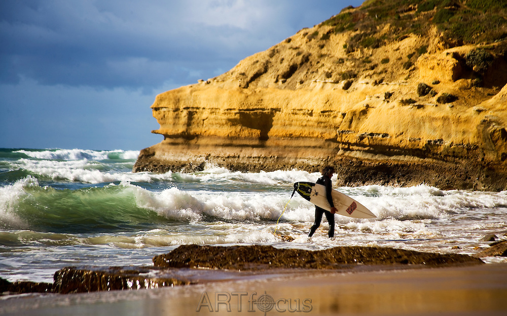 surfer at Little Rock, Jan Juc on the Great Ocean Road