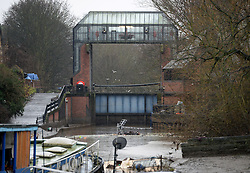 © Licensed to London News Pictures. 03/01/2016. York, UK. A view showing the closed Foss Barrier in York. Photo credit : Anna Gowthorpe/LNP