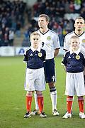 Scotland's Jordan Rhodes and mascot - Scotland v Holland - UEFA U21 European Championship qualifier at St Mirren Park..© David Young - .5 Foundry Place - .Monifieth - .Angus - .DD5 4BB - .Tel: 07765 252616 - .email: davidyoungphoto@gmail.com.web: www.davidyoungphoto.co.uk