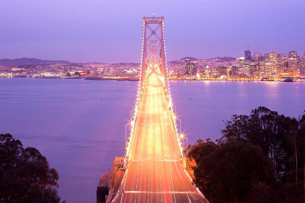 San Francisco-Oakland Bay bridge and city skyline, San Francisco, California, USA