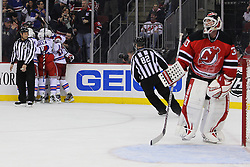 Jan 31; Newark, NJ, USA; New York Rangers defenseman Anton Stralman (32) celebrates his goal on New Jersey Devils goalie Martin Brodeur (30) during the first period at the Prudential Center.