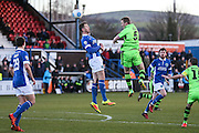Forest Green Rovers Mark Ellis(5) heads the ball during the FA Trophy match between Macclesfield Town and Forest Green Rovers at Moss Rose, Macclesfield, United Kingdom on 4 February 2017. Photo by Shane Healey.