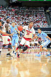 Louisville guard Shaqquan Aaron. <br /> <br /> The University of Louisville hosted University of North Carolina, Saturday, Jan. 31, 2015 at KFC YUM Center in Louisville. Photo by Jonathan Palmer