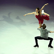 Kaitlin Hawayek and Jean-Luc Baker are seen during the Smucker's Skating Spectacular at the TD Garden on January 12, 2014 in Boston, Massachusetts.