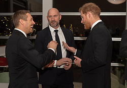 (left to right) Jonny Wilkinson, Lawrence Dallaglio and the Duke of Sussex during a reception in aid of England Rugby's Try For Change programme and the Jonny Wilkinson Foundation at the Kensington Palace Pavilion in London.