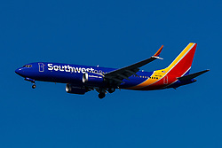 Boeing 737 MAX 8 (N8713M) operated by Southwest Airlines on approach to San Francisco International Airport (KSFO), San Francisco, California, United States of America