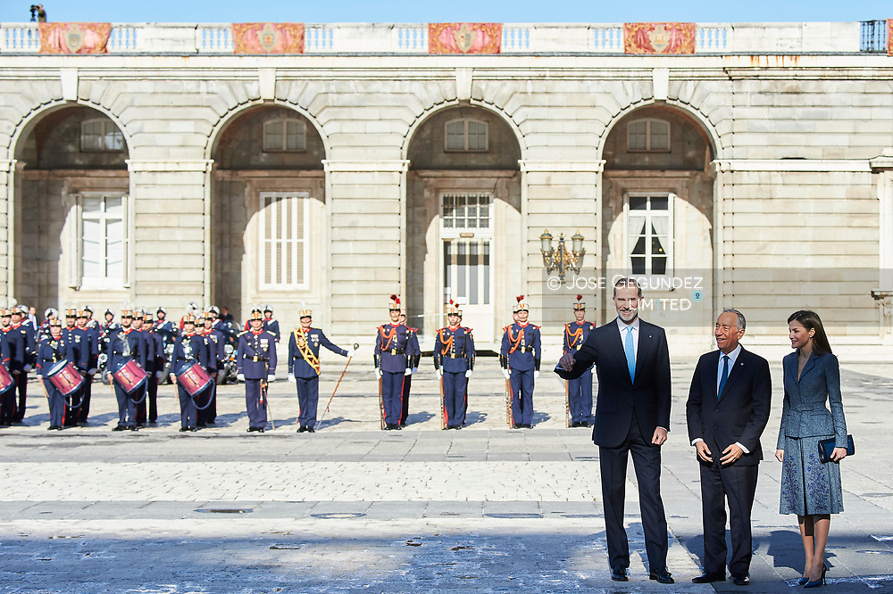 King Felipe VI of Spain, Queen Letizia of Spain, Marcelo Rebelo de Sousa, President of Portugal attended the Official Reception and Honors of Ordinance to President of Portugal during his 3 days State Visit at Palacio Real on April 16, 2018 in Madrid, Spain