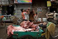 Butcher near Old Delhi mosque, India.