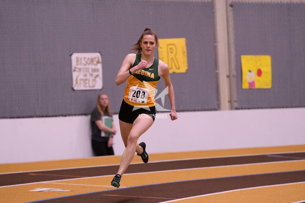Laura Huck in action during the 2018 Canada West Track & Field Championship on February  23 at James Daly Fieldhouse. Credit: Arthur Ward/Arthur Images